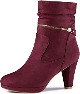 Women's Ankle Zip Platform High Heel Mid Calf Boots