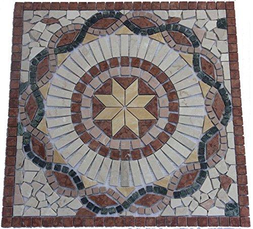 Antikmarmor Rosone 60x60 cm Windrose Mosaik Einleger Naturstein Fliesen Rosso Verona 015