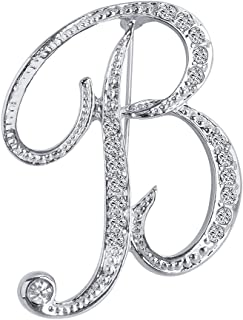 Liasun A-Z 26 Letters Brooches Silver Plated Metal Broaches Pins-Clear Crystal Initial Breastpin