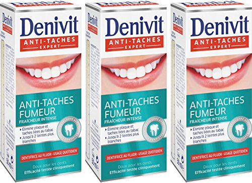 Pasta de dientes Denivit antitabaco punto intenso Frescura tubo de 50 ml Lote 3