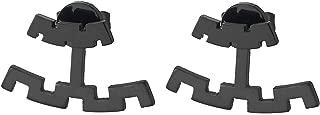 Negro Dos Hileras Modelo Dominante Griego Pendientes de Hombres Mujer, Acero Inoxidable, Unico, 2 Piezas