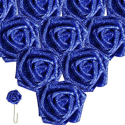 (Dia. 7.5cm) 25 pezzi Rose Finte Blu Reale con Polvere Teste di Fiori Artificiali Sposa Decorazione Matrimonio Nuziale Festa Casa Fai da Te