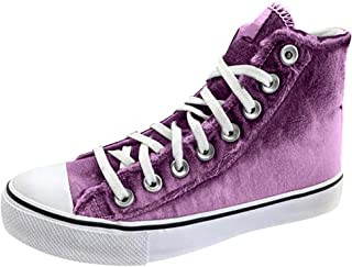 Women Solid Lace up Sneakers, Ladies Classic Canvas High Top Sneakers Walk Sports Casual Shoes