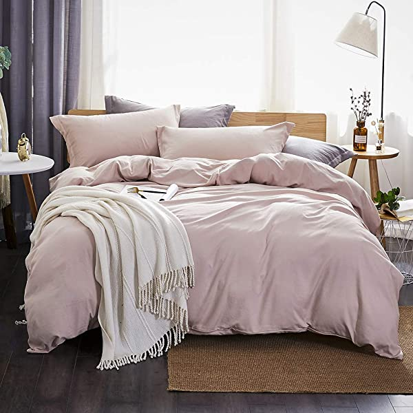 Dreaming Wapiti Duvet Cover Queen 100 Washed Microfiber 3pcs Bedding Duvet Cover Set Solid Color Soft And Breathable With Zipper Closure Corner Ties Pink Mocha Queen