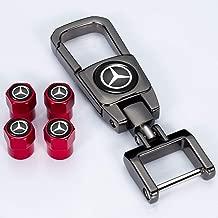 Kaolele 5 Pcs Metal Car Wheel Tire Valve Stem Caps for Mercedes Benz C E S M CLS CLK GLK GL A B AMG GLS GLE with Key Chain Logo Styling Decoration Accessories