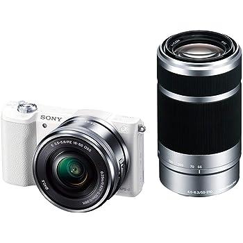 ソニー ミラーレス一眼 α5100 ダブルズームキット E PZ 16-50mm F3.5-5.6 OSS + E 55-210mm F4.5-6.3 OSS ホワイト ILCE-5100Y