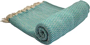 CRAFKART Turquoise Reversible Throw Blanket - Farmhouse Cotton Chevron Aqua Throw Blanket with Decorative Fringe for Sofa Couch Bed Chair Picnic Camping Indoor Outdoor - Home Living Room Decor