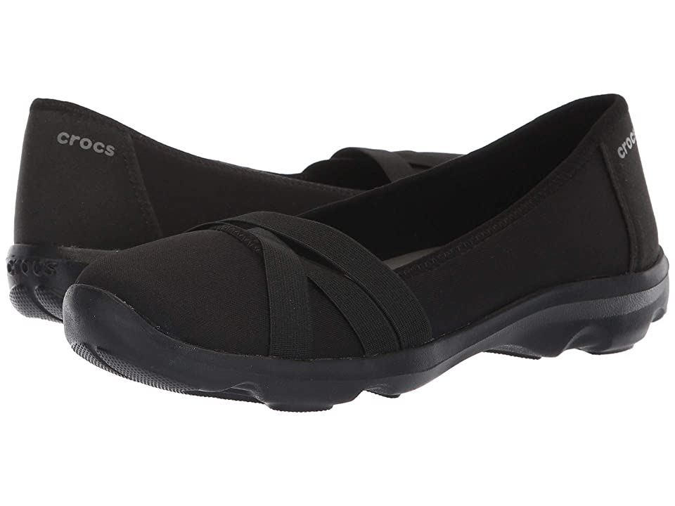 Crocs Busy Day Strappy Flat (Black/Slate Grey) Women