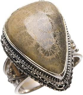 Natural Fossil Coral Antique Design Handmade Vintage 925Sterling Silver Ring, Size 9 T5575