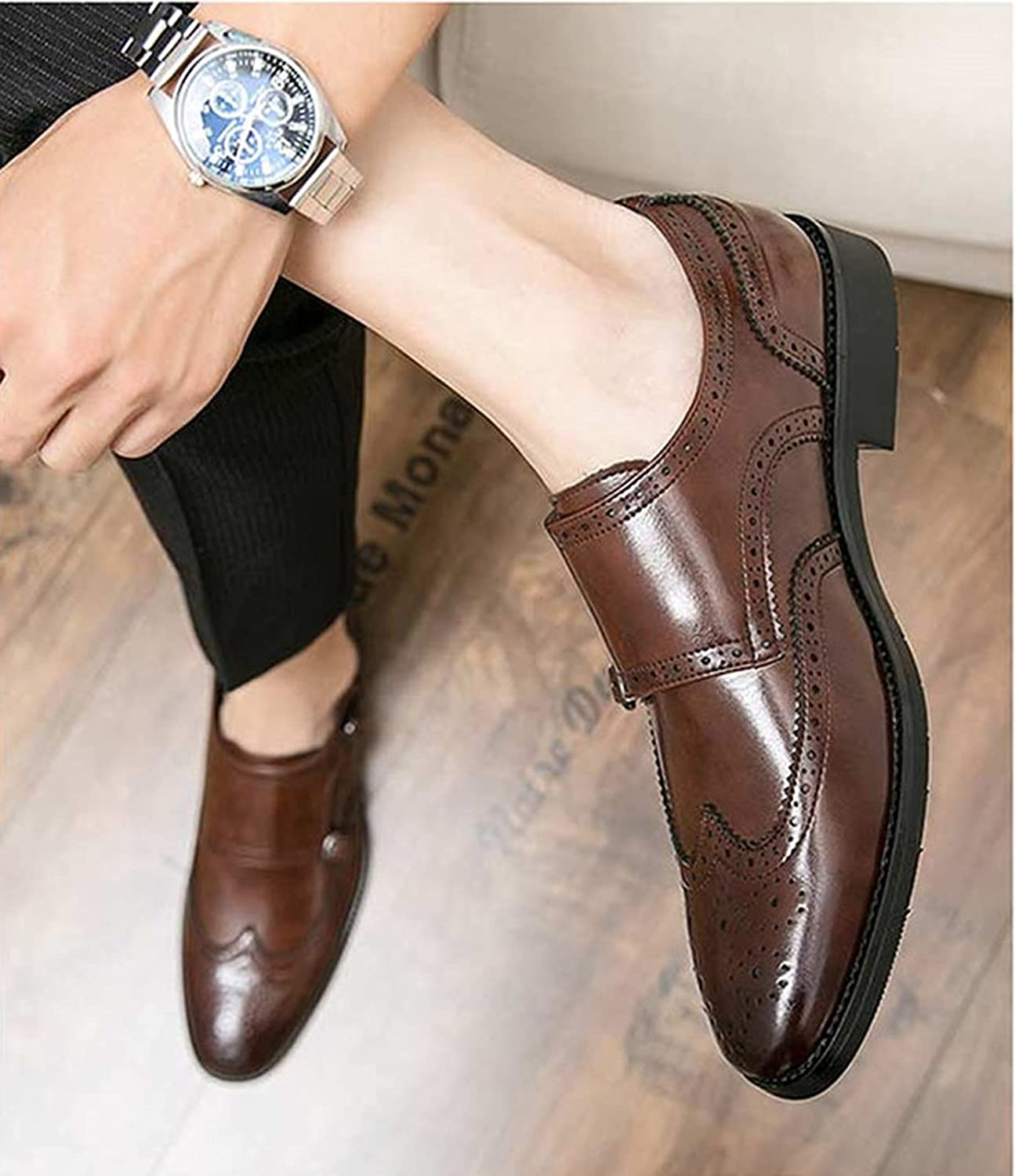 Juyouqian Men's Oxford Shoes Dress Comfortable and Breathable Casual Classic Leather Formal Cole Wingtip Buckle Shoes