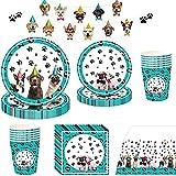 Noe Juego de vajilla fiesta para perros, 114 piezas, decoración cumpleaños 16 invitados, mascotas, cartón, animales, infantil con platos, vasos, servilletas y mantel