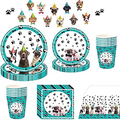 Noe Hund Partygeschirr Set 66 Pcs, Hunde Geburtstag Deko für 16 Gäste, Haustiere Pappgeschirr Tiere Partygeschirr Kindergeburtstag mit Teller+Becher+Servietten+Tischdecke