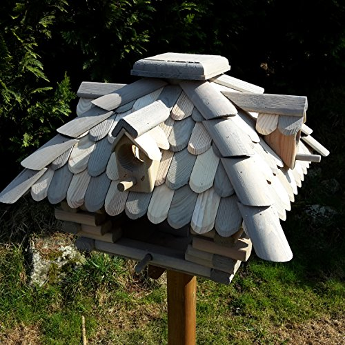 Desing Vogelhaus Handarbeit Vogelhäuschen Futterhäuser Futterhaus Nistkasten imprägniert / lasiert (Grau / Braun) - 2