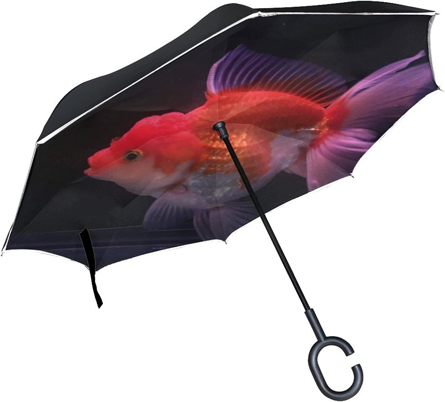 Animal Fish Oranda Cute Sea Water Little Mix Adorable Ingreened Umbrella Large Double Layer Outdoor Rain Sun Car Reversible Umbrella