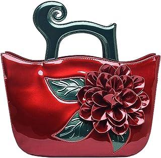 Trendy Lady Diagonal Bag Retro Large Flower Shoulder Bag Commuter Handbag Banquet Handbag Zgywmz (Color : Red, Size : 30 * 13 * 24cm)