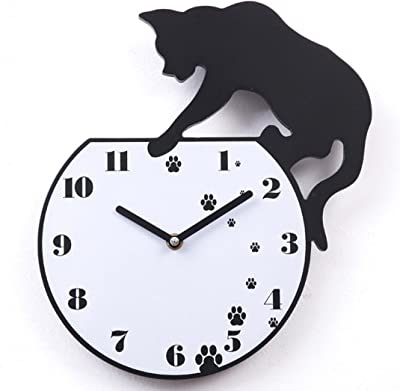 Anshinto Cute Cat Acrylic Clock Wall Clock Modern Style Home Decor Watch Wall Sticker (6