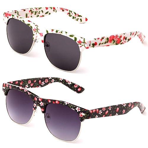 305cac9afe7a Newbee Fashion Floral Design Flower Art Semi-Rimmed Unique Love Women  Spring Fashion Sunglasses
