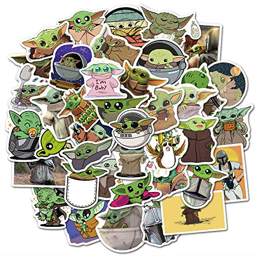 Baby Yoda Stickers for Laptop Water Bottle Hydro Flask Cute,Waterproof,Aesthetic,Trendy Stickers for Teens,Girls (50pcs)