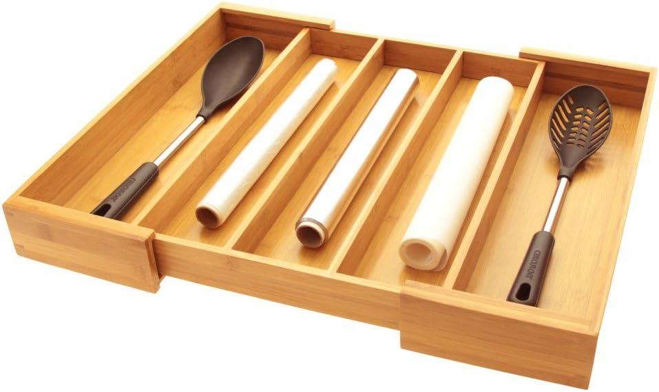 Utensils - Bandeja de cubiertos para cubiertos, organizador de cajones de cocina, hecho de bambú natural