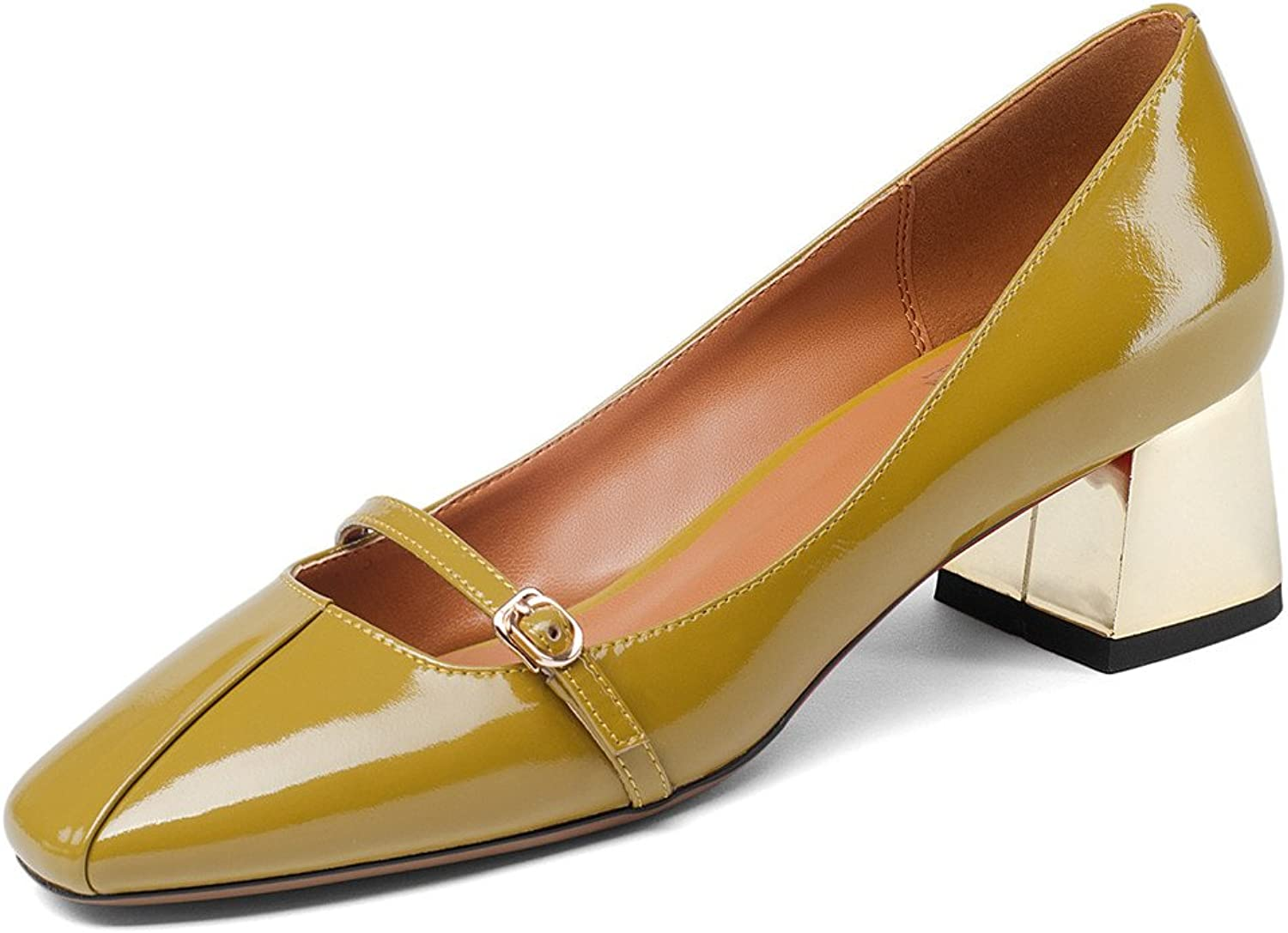 Nine Seven Patent Leather Women's Round Toe Chunky Heel Buckle Handmade Mary Jane Dress Pumps shoes