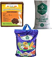 Kraft Seeds Vermicompost 4kg & Cocopeat 4kg & 4kg Organic Manure in One Box Trio Organic Manure Pack -Expands Upto...