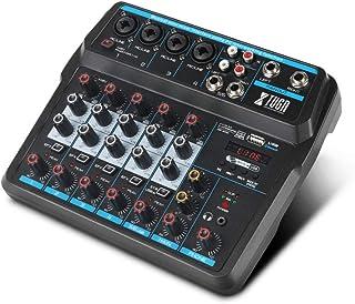XTUGA AM6 - Mezclador de sonido de 6 canales con Bluetooth USB Record 48V efectos Phantom Power Monitor Paths Plus, Uso pa...