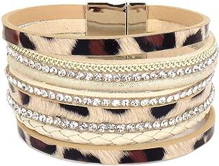 Emulily Animal Print Leather Magnetic Bracelet