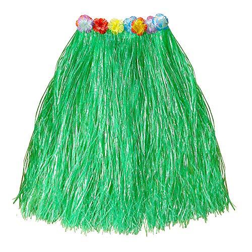 WIDMANN 33692 - Falda hawaiana con cinturón de flores, verde, longitud 78 cm, playa, verano, playa, carnaval, fiesta temática
