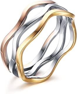 Womens Girls Stainless Steel Tri-Color Wave Band Ring for Wedding Promise Engagement