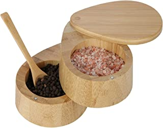 Lily's Home Two Tiered Bamboo Wood Salt And Pepper Spice Box Set With Matching Spoon and Magnetic Lid