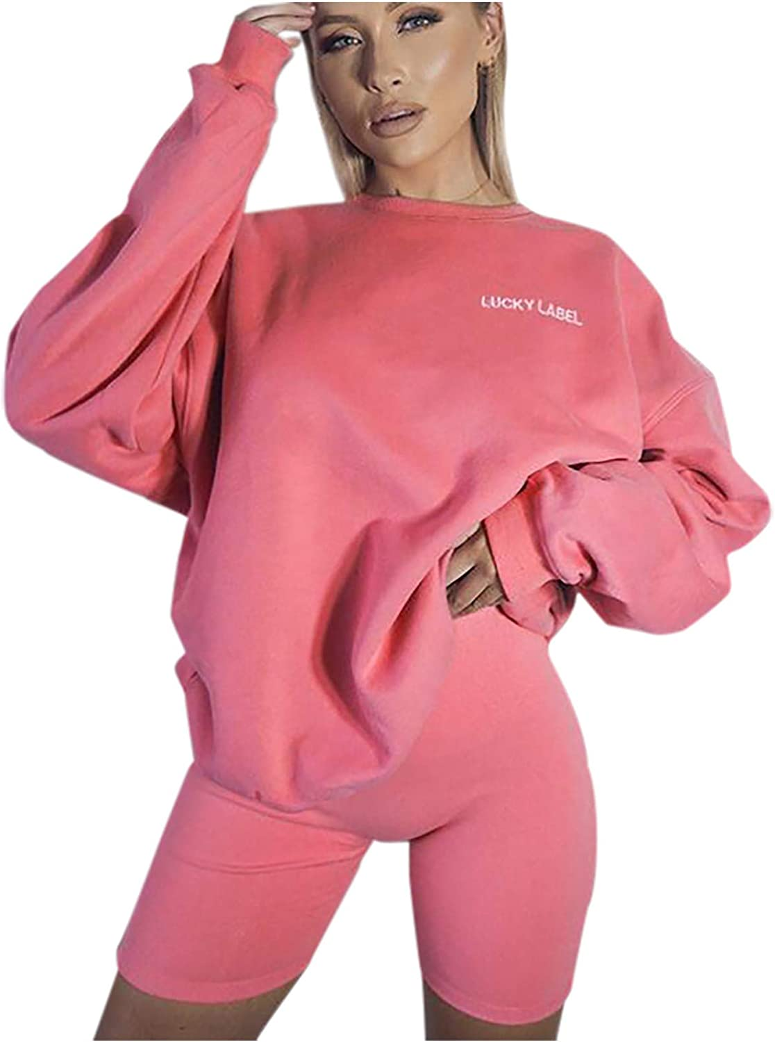 Womens O Neck Sportswear with Short Leggings Set Winter Long Sleeve Shorts Set Letter Printed Casual Jogging Suit