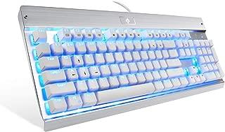 Eagletec KG011 Mechanical Keyboard Blue Switches 104 Lighted Keys Natural Ergonomic Aluminum Design for Windows PC Office and Gaming (White Keyboard Blue LED Backlit)