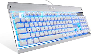 Eagletec KG011 Mechanical Keyboard Blue Switches 104 Lighted Keys Natural Ergonomic Aluminum Design for Windows PC Office and Gaming (White Keyboard Blue LED Backlit)