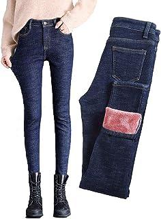 Van Royal Women`s Classic Jeans Tapered Inside Velvet Plus Warm Trousers Slim Pants