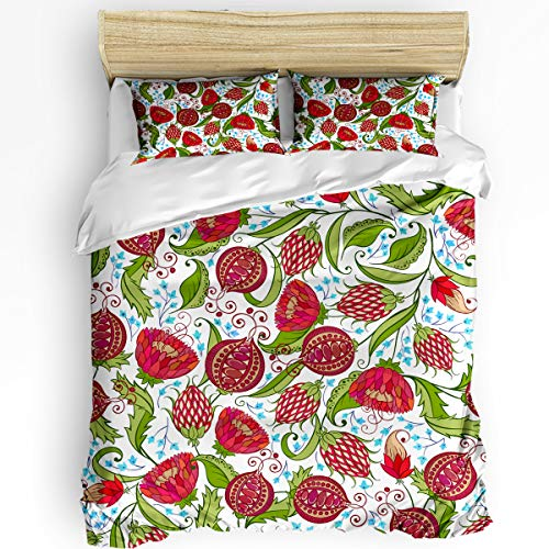 Fandim Fly 3 Pieces Ultra Soft Duvet Cover Set Queen Size Pomegranate Floral Pattern Bohemian Style Print Bedding Set (Insert Excluded) with Zipper Closure for All Season 90 x 92 Inch
