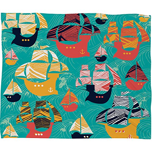 "Deny Designs Sam Osborne , Pirate Ships, Fleece Throw Blanket, Large , 80"" x 60"""