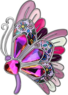 NEWEI Enamel Alloy Rhinestone Flying Butterfly Brooch Pin for Women Colth Suit Scarf Fashion Insect Jewlery Gift