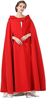 BEAUTELICATE Umhang Damen Mit Kapuze Wollmischung Poncho Hochzeit Braut Winter Voller L/änge Cape Halloween Kost/üm Weihnachten