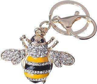 Girl's Bee Keychain Gold Plated Bag Charm Cute Car Key Ring Crystal Purse Pendant #51611