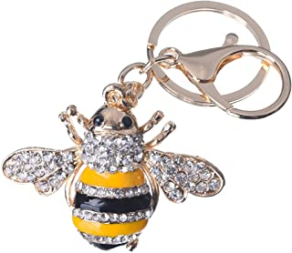 Girl's Bee Keychain Gold Plated Bag Charm Cute Car Key Ring Crystal Purse Pendant #51611