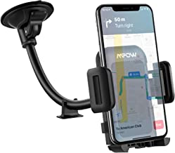 Car Phone Mount, Mpow Windshield Car Holder Long Arm Suction Cup Cell Phone Holder for Car, One Hand Operation Car Phone Clamp Compatible iPhone Xs MAX/XS/XR/X/8 Plus/7/Galaxy S10/S9/S8/Note9