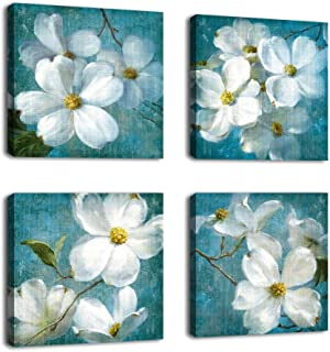 Canvas Wall Art Blossom Picture Bathroom Wall Decor White Flower Blue Background Canvas Artwork Bedroom Living Room Wall Decor Contemporary Canvas Painting Office Home Decor 12