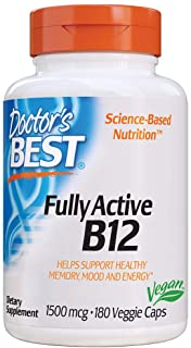 Doctor's Best Fully Active B12 1500 Mcg, Supports Energy, Mood, Circulation, Non-GMO, Vegan, Gluten Free, 180 Count