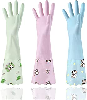 3 Pairs Cleaning Gloves, Long Cuff, Waterproof Reuseable Rubber Household Kitchen Dishwashing Gloves(Medium, 3 Colors)