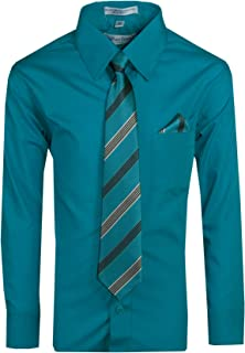 Tuxgear Boys Long Sleeve Button Up Dress Shirt with Necktie and Pocket Square