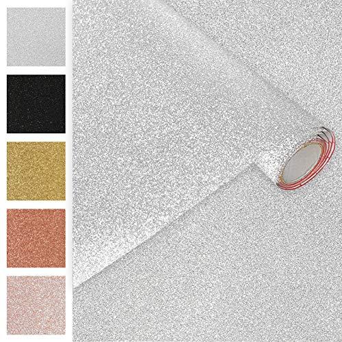 DecoMeister Klebefolien Deko-Folien Selbstklebefolie Möbelfolie Selbstklebend Glitzernd Einfarbig Einheitliche Glitter-Farbe 45x150 cm Glitzer Silber