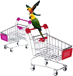 Anself Cute Metal Mini Shopping Supermarket Cart Pet Bird Toy for Parrot Conures Parakeet Lovebirds Cockatiel Random Color
