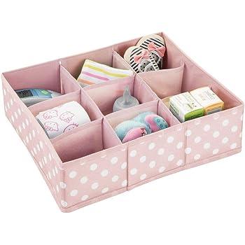 Kinderschrank Organizer aus Kunstfaser rosa//wei/ß Kinderzimmer Aufbewahrungsbox mit je vier F/ächern mDesign Aufbewahrungsboxen f/ür das Kinderzimmer Bad usw