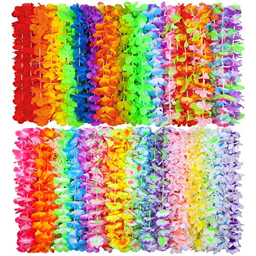 Ruisita 72 Pieces Hawaiian Leis 36 Colors Flowers Necklaces Hawaiian Luau Leis Necklaces for Tropical themed Party Decorations Beach Party Decor