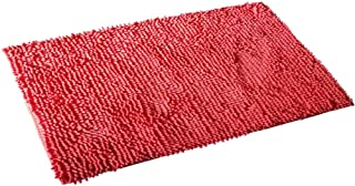 FINECASA Soft Luxury Chenille Bath Rug Extra Absorbent and Comfortable Bathroom Mat Rugs Strong Underside Anti-Slip Plush Carpet Mats for Children's Tub 36''x24'' Orange red